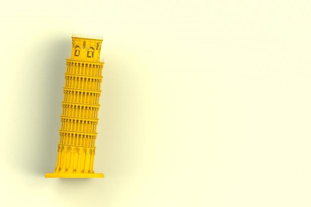 Gelber lehnender turm von pisa auf gelbem hintergrund, wiedergabe 3d Premium Fotos
