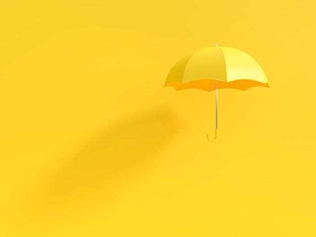 Gelber regenschirm mit schatten auf gelb Premium Fotos