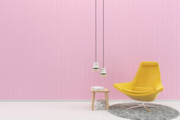 Gelber Stuhl Rosa Pastell Wand Weiß Holzboden Hintergrund Textur