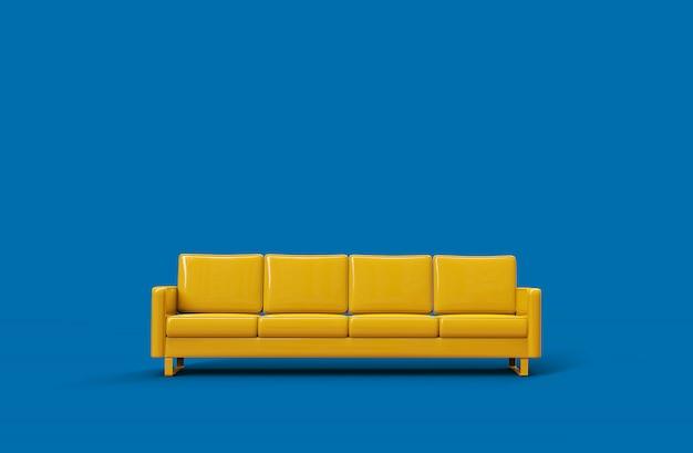 Gelbes ledersofa lokalisiert auf blauem hintergrund. 3d-rendering Premium Fotos
