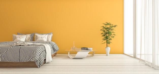 Gelbes schlafzimmer der wiedergabe 3d mit minimalem dekor und tageslicht Premium Fotos