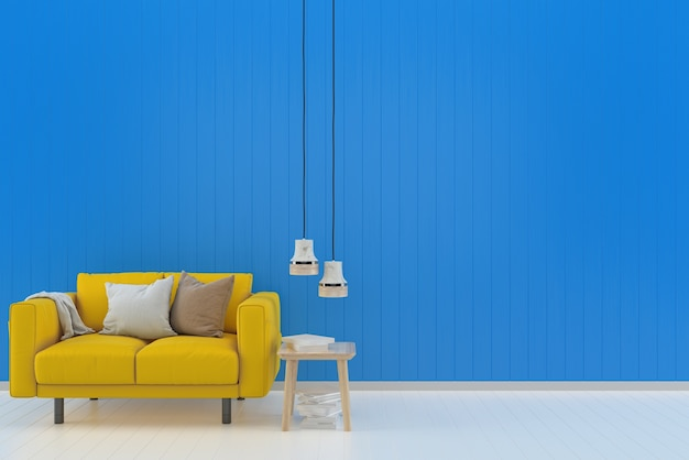 Gelbes sofa blau pastell wand weiß holzboden hintergrund textur buch lampe Premium Fotos