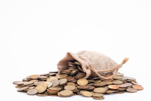 Geldsäcke und münzen Premium Fotos