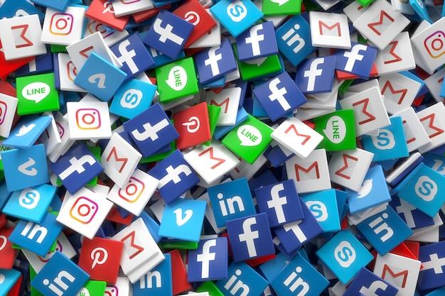 Gelegentliche ikonen 3d social media-vernetzungs-app Premium Fotos