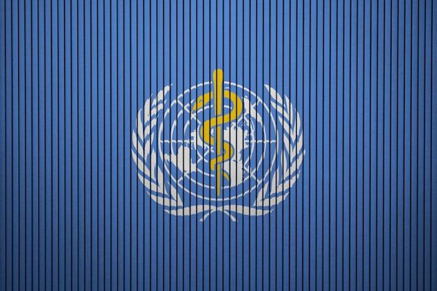 Gemalte flagge von who auf einer betonmauer Premium Fotos