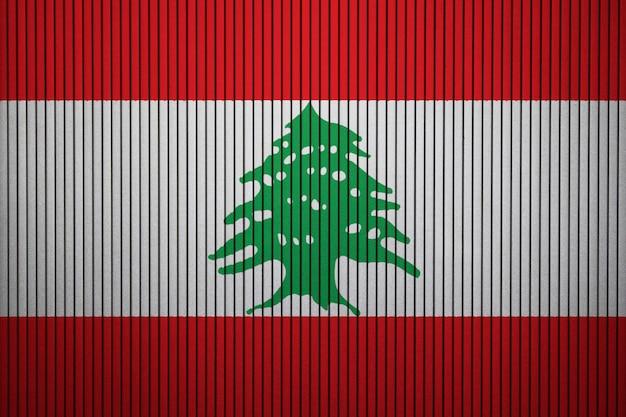 Gemalte staatsflagge des libanon auf einer betonmauer Premium Fotos