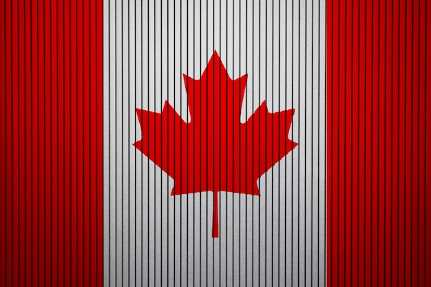 Gemalte staatsflagge von kanada auf einer betonmauer Premium Fotos