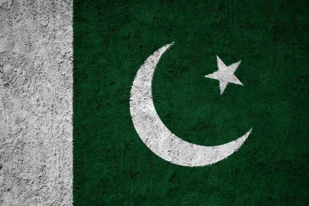 Gemalte staatsflagge von pakistan auf einer betonmauer Premium Fotos
