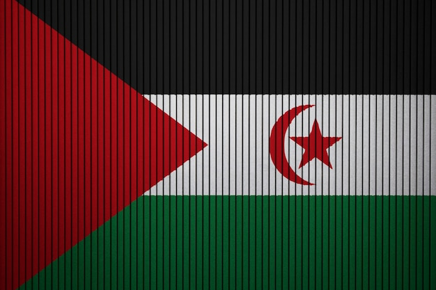 Gemalte staatsflagge von sahrawi arabische demokratische republik auf einer betonmauer Premium Fotos