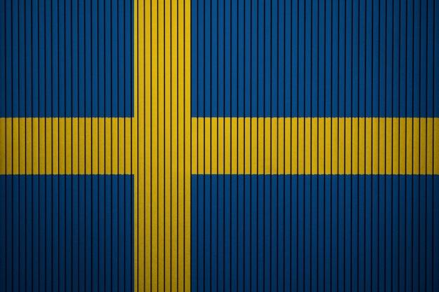 Gemalte staatsflagge von schweden auf einer betonmauer Premium Fotos