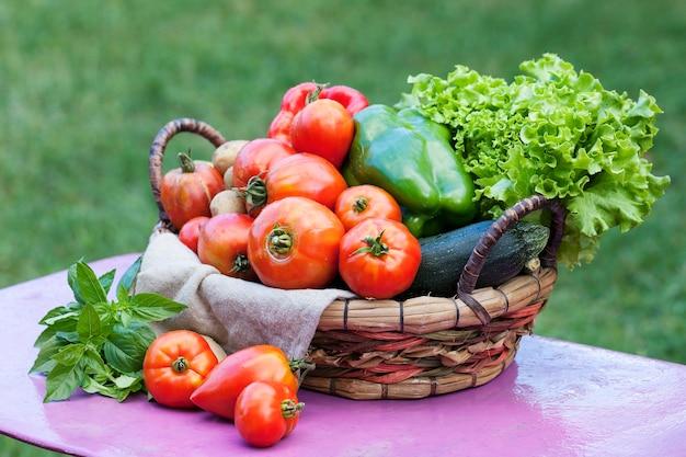 Gemüse auf einem tisch in einem garten unter dem sonnenlicht Kostenlose Fotos