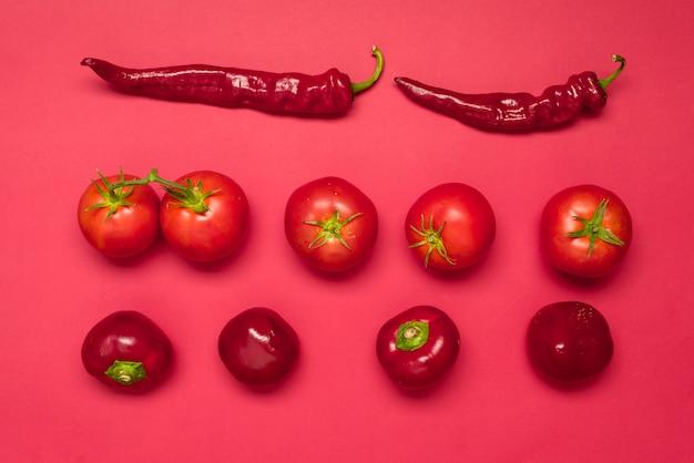 Gemüsepaprika, roter grüner pfeffer, reife tomaten, frisches rotes gemüse auf einem bunten hintergrund, draufsicht Premium Fotos