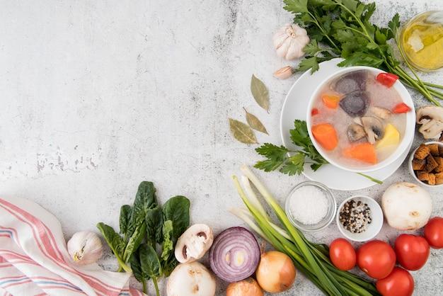 Gemüsesuppe und natürliche zutaten kopieren platz Kostenlose Fotos