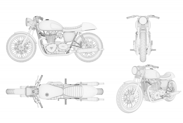 Generisches und markenloses wireframe-motorrad in vier ansichten Premium Fotos