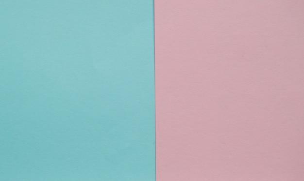 Geometrische ebene des blauen und rosa pastellfarbpapiers legen zwei hintergründe nebeneinander an Premium Fotos