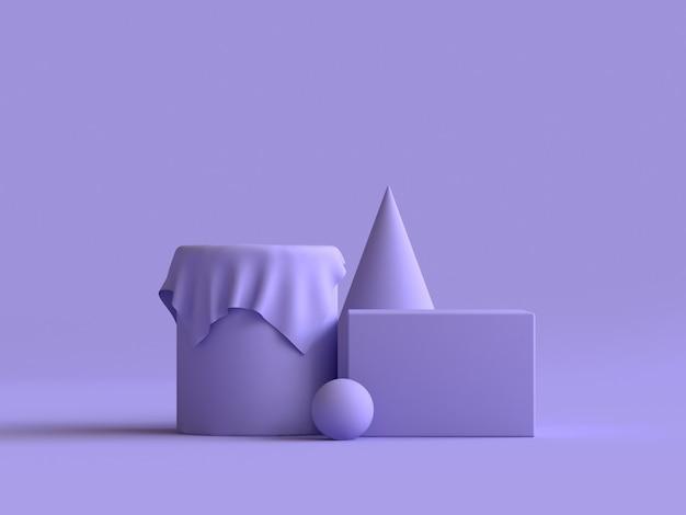 Geometrische form gruppe festgelegt lila minimale 3d-rendering Premium Fotos