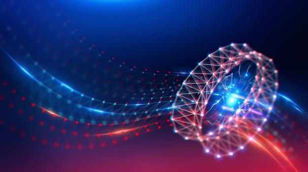 Geometrische landschaft und futuristische digitale blockchain-fintech-technologie. Premium Fotos