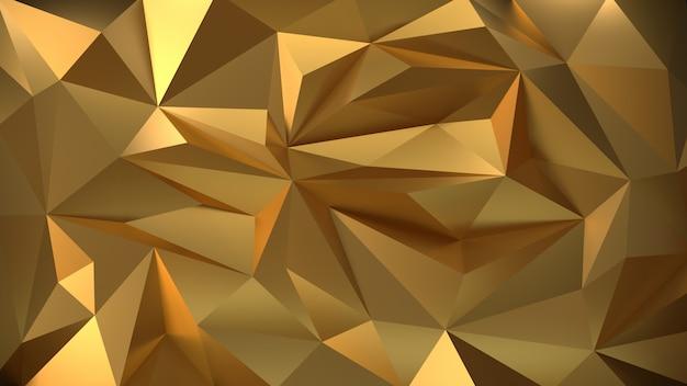Geometrischer hintergrund des gold 3d des partikels. Premium Fotos