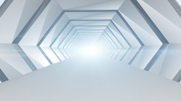Geometrisches architekturkonzept der futuristischen tunnelzusammenfassung. Premium Fotos