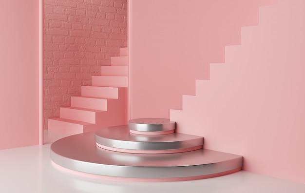 Geometrisches formpodest der abstrakten rosa farbe Premium Fotos