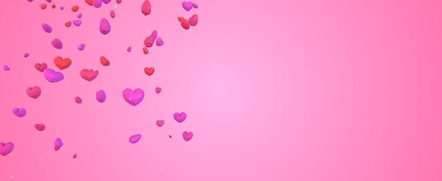 Geometrisches herz des niedrigen poly poly, das vom himmel auf rosa hintergrund fällt, valentinstagkonzept, eleganter liebesgrußkartenhintergrund mit kopienraum Premium Fotos