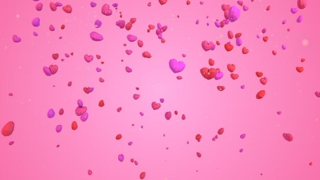 Geometrisches herz des niedrigen poly poly, das vom himmel auf rosa hintergrund fällt, valentinstagkonzept, eleganter liebesgrußkartenhintergrund Premium Fotos