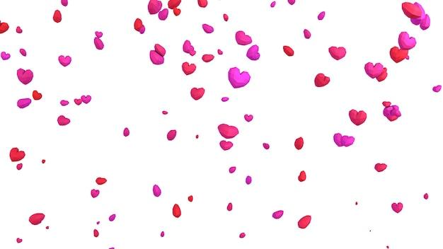 Geometrisches herz des niedrigen poly poly, das vom himmel auf weißem hintergrund fällt, valentinstagkonzept, eleganter liebesgrußkartenhintergrund Premium Fotos