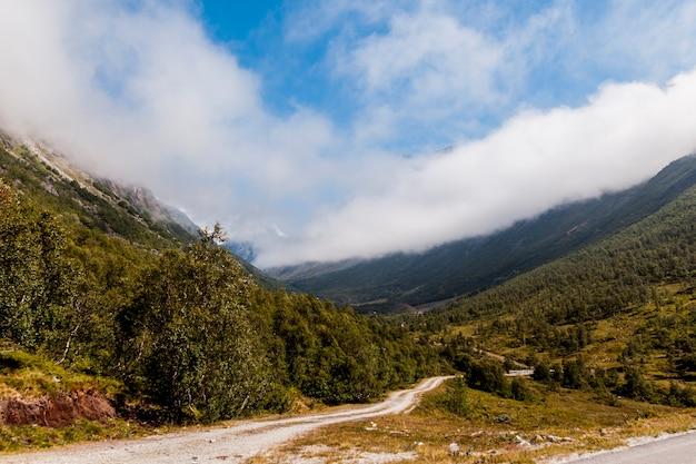 Gerader kurvenreicher schotterweg in der grünen berglandschaft Kostenlose Fotos