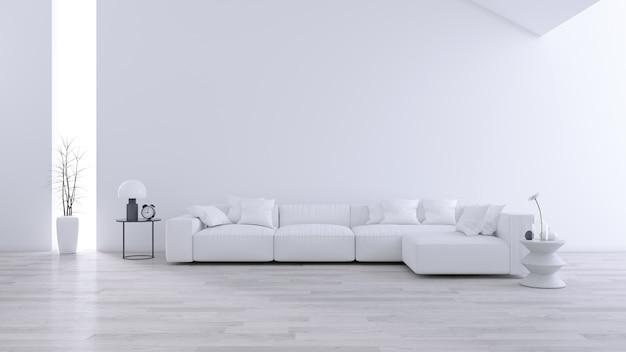 Geräumiges modernes und minimalistisches wohnzimmer, schwarz-weißes interieur Premium Fotos