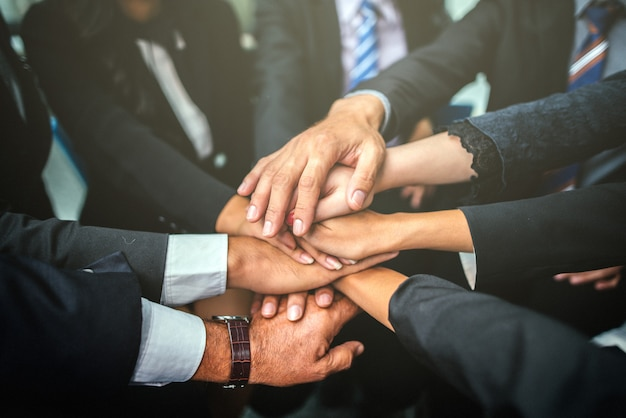 Geschäft team stack hands support teamwork concept. Premium Fotos