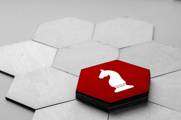 Geschäfts-u. strategieikone auf buntem puzzle Premium Fotos
