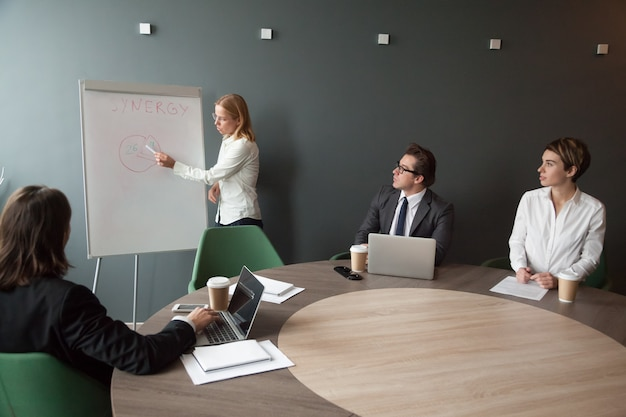 Geschäftsfrau, die präsentation bei der unternehmensteambesprechung im modernen büro gibt Kostenlose Fotos