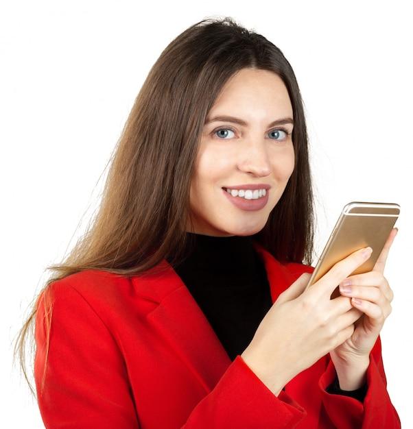 Geschäftsfrau, die smartphone verwendet Premium Fotos