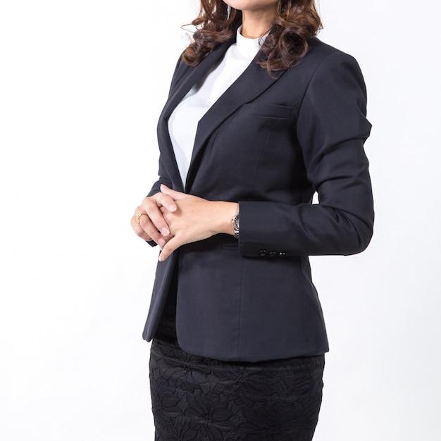 Geschäftsfrau getrennt auf weißem hintergrund. konzept für unternehmen Premium Fotos