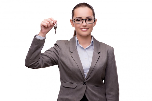 Geschäftsfrau, welche die virtuellen knöpfe lokalisiert auf weiß bedrängt Premium Fotos