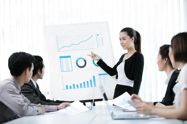 Geschäftsfrauen wird eine arbeit als graph angeboten Premium Fotos