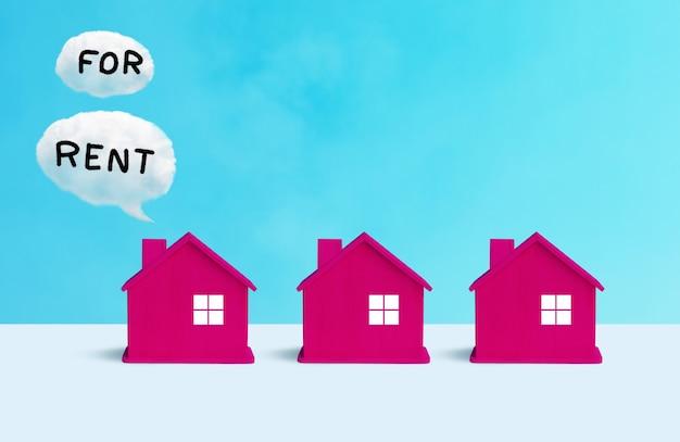 Geschäftsimmobilienkonzepte mit musterhaus- und immobilientext. finanz- oder bankideen Premium Fotos