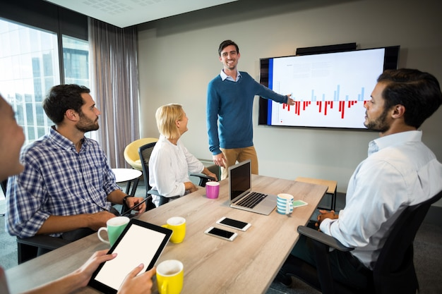Geschäftsleute diskutieren über grafik während eines meetings Premium Fotos