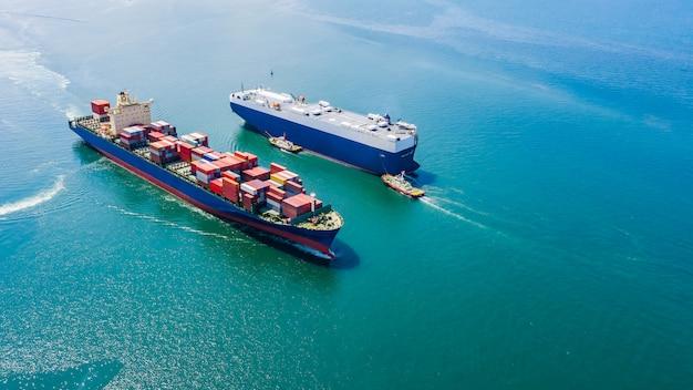Geschäftsluxusschiffladenautos und versandfrachtbehälter Premium Fotos