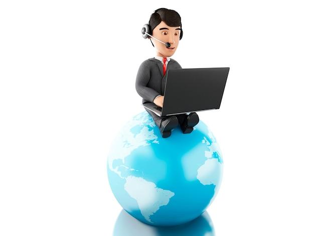 Geschäftsmann 3d, der an einem laptop mit kopfhörern auf erdkugel arbeitet. Premium Fotos