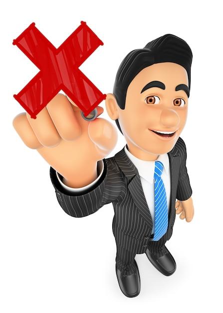 Geschäftsmann 3d, der ein rotes kreuz zeichnet Premium Fotos