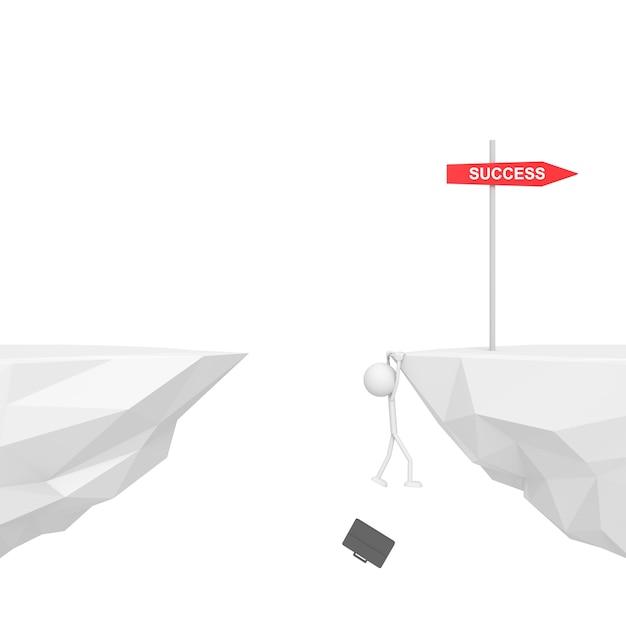 Geschäftsmann, der an der klippe mit ausfallkonzept hängt. 3d-rendering. Premium Fotos