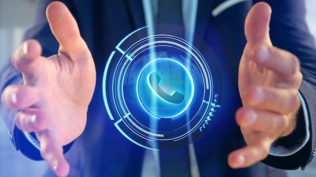 Geschäftsmann, der eine technologische telefontaste shinny anhält - 3d übertragen Premium Fotos