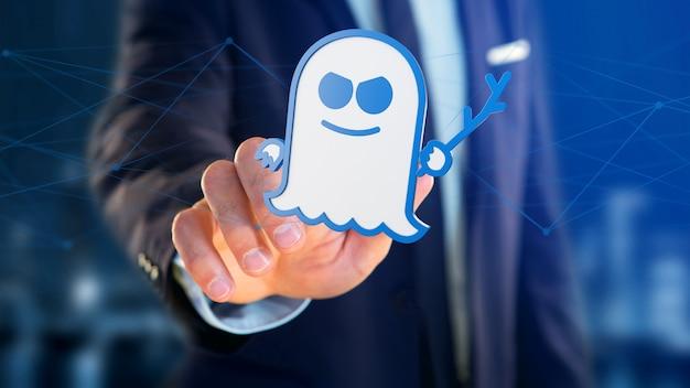 Geschäftsmann, der einen spectre-prozessorangriff mit netzwerkverbindung hält Premium Fotos