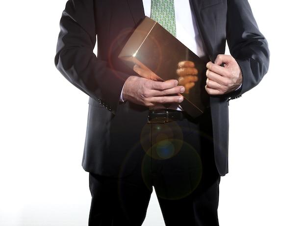 Geschäftsmann, der einkommen hält Premium Fotos