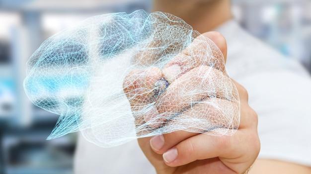 Geschäftsmann, der menschliches gehirn des digitalen röntgenstrahls in seiner wiedergabe der hand 3d zeichnet Premium Fotos