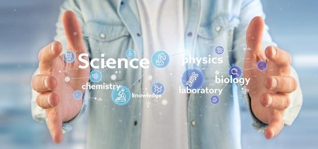 Geschäftsmann, der wissenschaftsikonen und -titel hält Premium Fotos