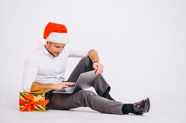 Geschäftsmann lokalisiertes einkaufen auf weihnachten online Kostenlose Fotos