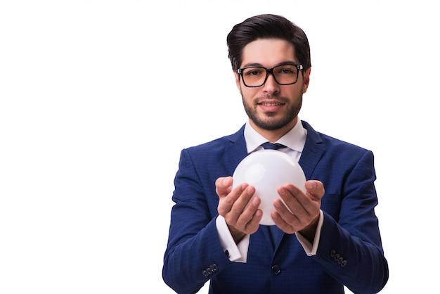 Geschäftsmann mit der kristallkugel getrennt Premium Fotos