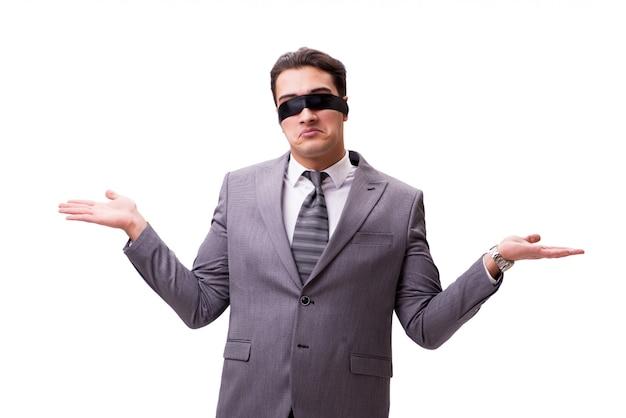 Geschäftsmann mit verbundenen augen lokalisiert auf weiß Premium Fotos